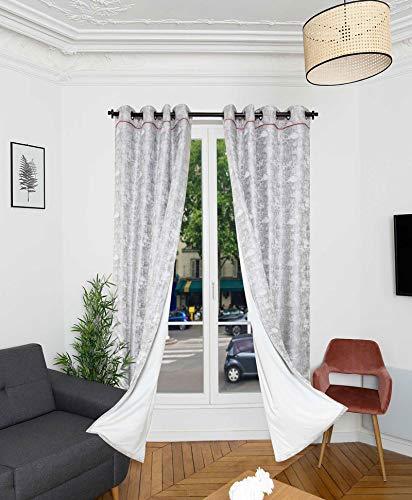 RIDPHONIC Vorhang 15dB Bolder 4 Schichten Isolierung phonisch Tür und Fenster Vorhang Thermische Isolierte Verdunkelung 150x245 cm Vorhang Akustik Anti-Kälte Raumdekoration Farbe Weiß Silber
