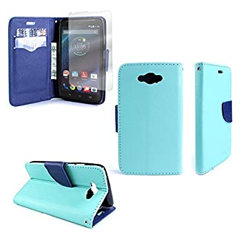 Motorola Droid Turbo Case Flip Stand Wallet [CoverON Carryall Pouch] Tough Textured Design [Features Credit Card ID Slots and Wristlet Strap] Phone Cover Case for Droid Turbo - Teal/Navy Blue