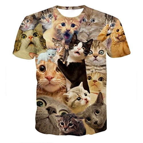 Price comparison product image Deals T-Shirt, ZYooh 2018 Fashion Men 3D Graphic Kitty Cat Printed Short Tee Tops (Multicolor,  XXL)