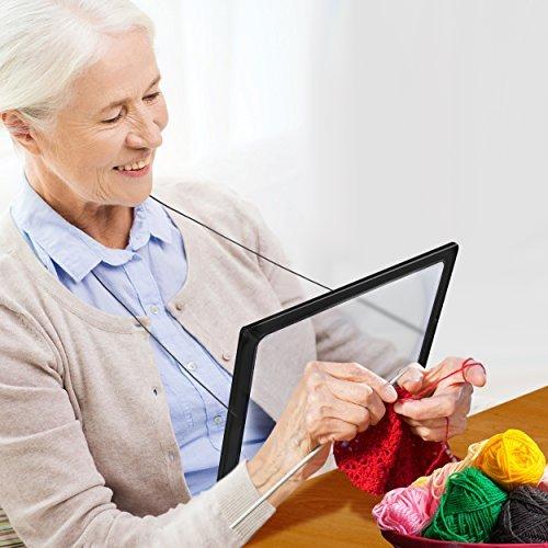 Zeitungslupe Vergrößerungsglas Leselupe - Lupe OMALU - für Senioren zum Umhängen - Geschenk für Oma - A4 Format- LED Beleuchtung - Senioren Vergrößerungslupe Lesehilfe Zeitung Buch - Maße: ca. 28x20x2cm