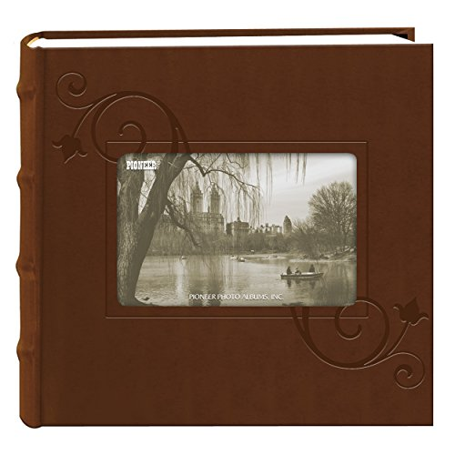 Pioneer Embossed Floral Frame Leatherette Cover Photo Album, Brown (4x6)