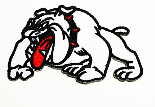 HHO White Bulldog Pitbull Dog Pet Cartoon Patch Embroidered DIY Patches, Cute Applique Sew Iron on Kids Craft Patch for Bags Jackets Jeans Clothes