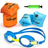 Swimming Arm Float Rings, 4 Pack Arm Float Rings with Anti-Fog and Leak-Proof Kid's Swimming Goggles and Inflator, PVC Arm Floaties Inflatable Swim Arm Bands Floater Sleeves Swimming Rings