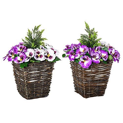 Outsunny Vaso con Fiori Finti di Phalaenopsis Viola e Bianchi, Pianta Finta Decorativa Interni ed Esterni Alta 45cm