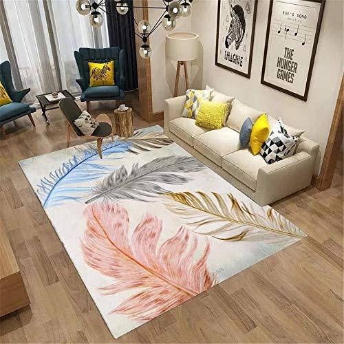 Kunsen La alfombras Dormitorio Alfombra Decoración de patrón de Plumas de Doodle de diseño Minimalista Amarillo Azul Rojo Antideslizante Alfombras 50 * 80cm