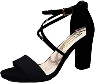 Escarpins Femme Talon Carre, Talon Haut Sandales Femme Été Mode Femme Chaussures Chic Brides Cheville Cuir Sexy Sandales P...