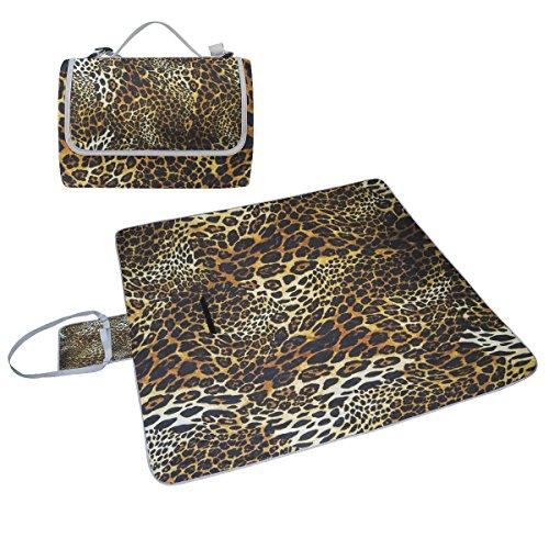 COOSUN Leopard Haut Hintergrund Picknick Decke Tote Handlich Matte Mehltau resistent und wasserfest Camping Matte für Picknicks, Strände, Wandern, Reisen, Rving und Ausflüge