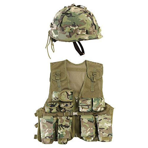 Kombat UK BTP Assault Vest + Juego de Casco, Infantil, Diseño británico, Talla única