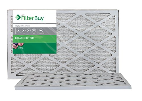 FilterBuy 16x25x1 MERV 8 Pleated AC Furnace Air Filter, (Pack of 2 Filters), 16x25x1 – Silver