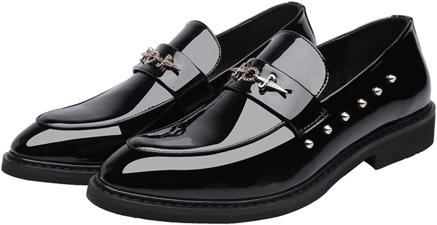 CHENXD shoes, Men's Punk Style Non-Slip Rubber Sole shoes Smooth PU Leather Slip-on Lined Oxfords Prom Loafer with Rivets Black
