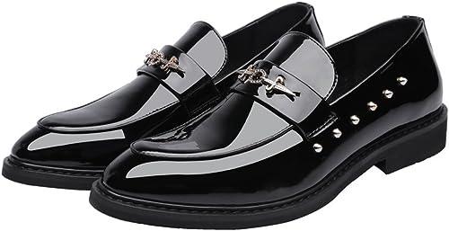 L.W.SUSL Chaussures de Style Punk pour Hommes Modernes en PU PU Lisse en Cuir de mocart de Bal Slips Oxford doublées avec Rivets Noirs des Chaussures (Couleur   Noir, Taille   42 EU)  bonne réputation