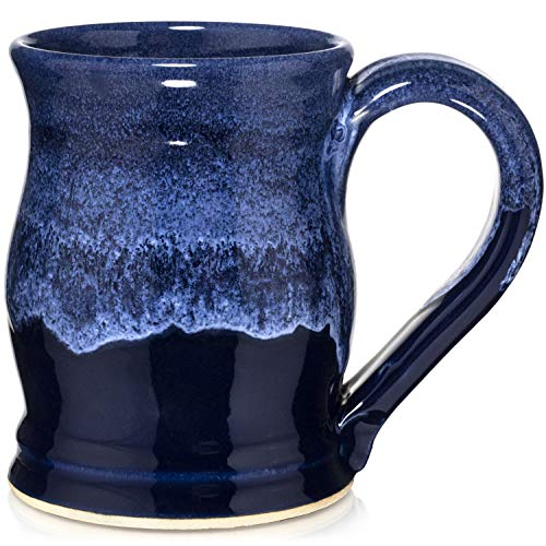 Uncommon Clay 20oz Barrel Coffee Mug Handmade in the USA (Sapphire Blue/White)