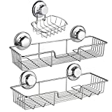 iPEGTOP Shower Caddy Basket Shelf & Soap Dish Holder for Bathroom Shampoo Conditioner Kitchen Storage Organizer SUS304 Stainless Steel, No Drilling Suction Cup - 3 Pack
