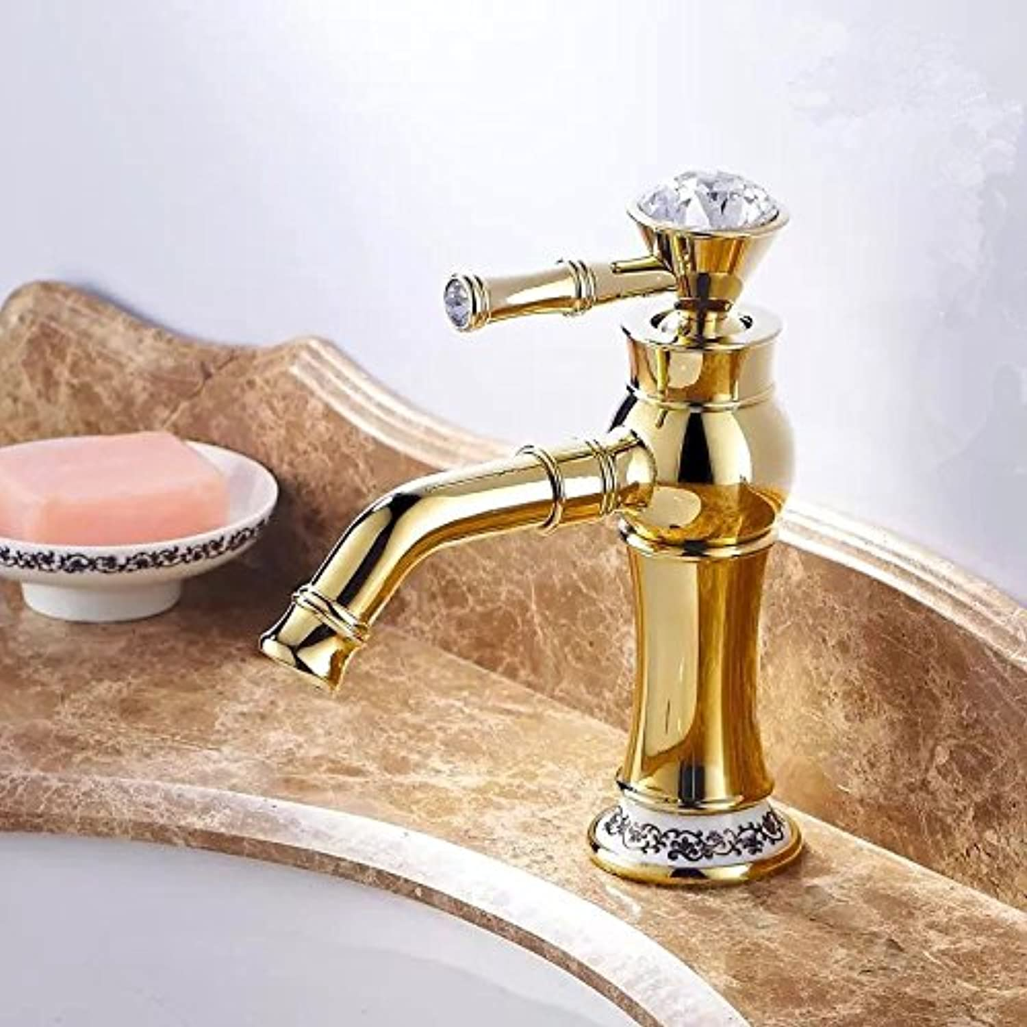 ETERNAL QUALITY Bathroom Sink Basin Tap Brass Mixer Tap Washroom Mixer Faucet Hot and cold basin gold kitchen faucet hot and cold basin A gold ceramic low Kitchen Sink T
