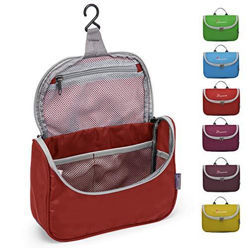 MOUNTAINTOP Kulturbeutel Kosmetiktasche Kulturtasche zum Aufhängen Toiletry Bag Waschtasche für Reise Urlaub, 23.5 x 6 x 17 cm (Rot)