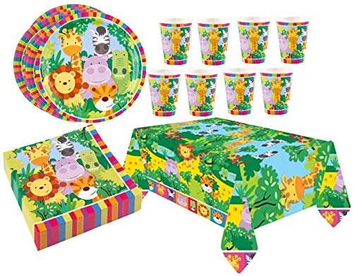 Libetui Set 37 Teile Geschirr Set Dschungel Kindergeburtstag Tiere Geschirrset Happy Birthday Deko Becher Teller Dschungel Geschirr-Set für bis zu 8 Kinder