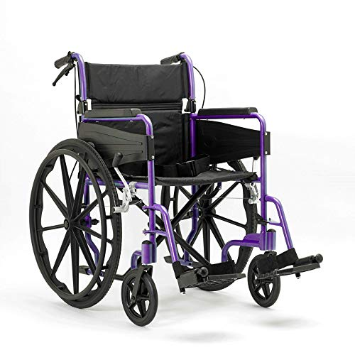 Days Escape Lite Self Propelled Wheelchair – Lightweight Aluminium Folding Wheelchair with Attendant Brakes – Suitable for Indoor and Outdoor Use (Wide, Purple)