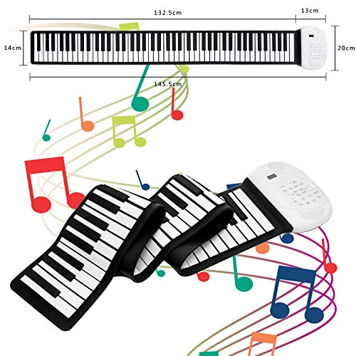 JAEZZIY Roll Up Piano, 88 Keys Hand Roll Piano, Upgraded Music Keyboard Piano with Bluetooth Microphone, Portable Electronic Piano Keyboard Rechargeable Battery for Kids Adults Beginners Gift