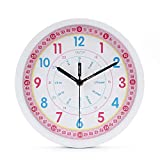 Kids Wall Clock Learning Time Wall Clock Educational Teaching Clock( 25cm / 10 Inch , Pink White)