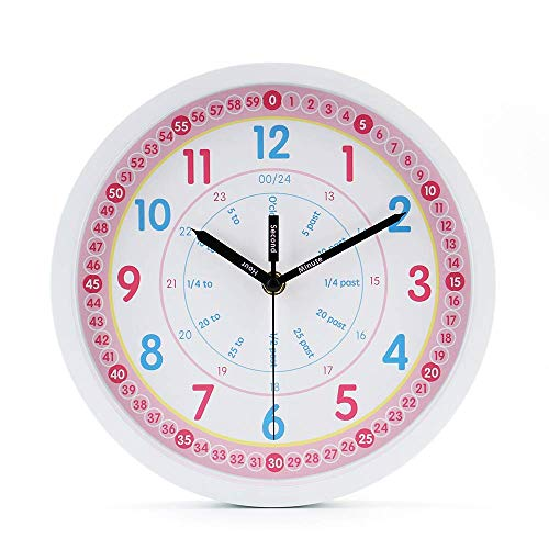 jomparis Kids Wall Clock Learning Time Wall Clock Educational Teaching Clock 10 Inch Silent Non Ticking Quality Quartz Battery Operated Wall Clocks for Grils Room,Kids Room,Playroom(White)