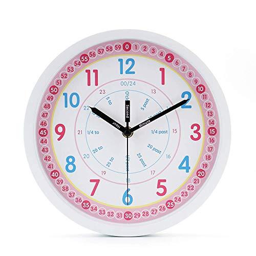 jomparis Kids Wall Clock Learning Time Wall Clock Educational Teaching Clock 10 Inch Silent Non...