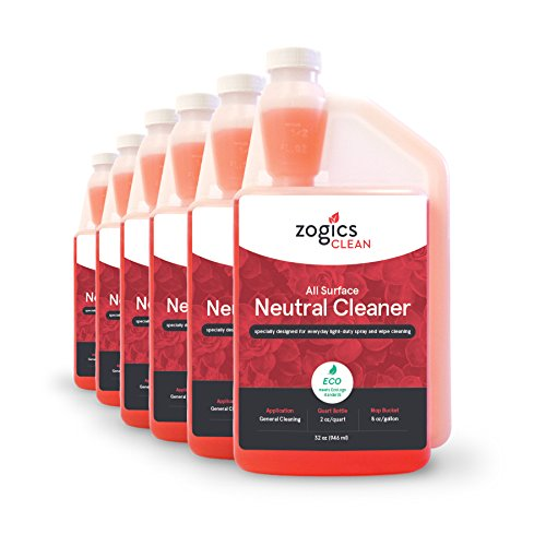 Zogics All Surface Neutral Cleaner, Case of 6-32 oz Bottles - Each Bottle Makes up to 16 Gallons - Meets ECOLOGO Standards