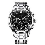 LIGE Relojes Hombres Cronógrafo Acero Inoxidable Cuarzo Analógico Reloj Vestido Negocios Deporte Impermeable Reloj de Pulsera para Hombres