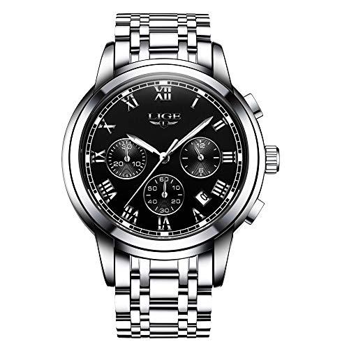 LIGE Uhren Herren Edelstahl Chronograph Analog Quarzuhr Geschäft Kleid Sport wasserdichte Armbanduhr für Herren