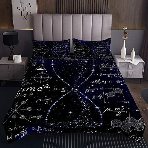 Erosebridal Science Bedding Set Hourglass Purple Galaxy Comforter Cover Physics Formula Coverlet Set for Kids Boys Girls Math Equations Geometry Axis Art School Bed Cover Child Dorm Decor 3Pcs Queen