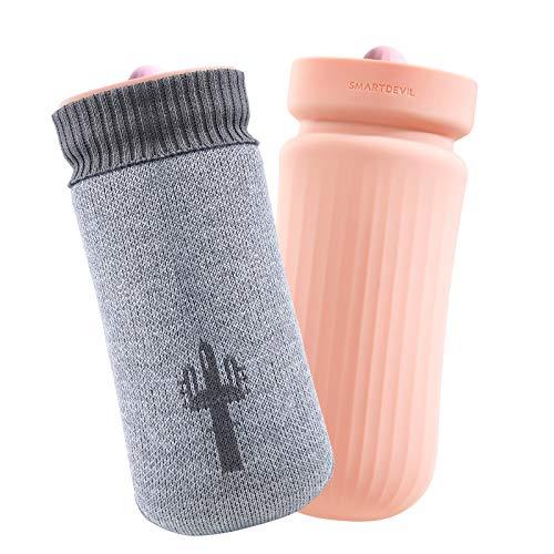SmartDevil Botella de agua caliente,Mini bolsa agua caliente larga para microondas con forro de punto de cactus,botellas de agua caliente de primera calidad adecuadas para hombres,Mujeres y niños-Rosa