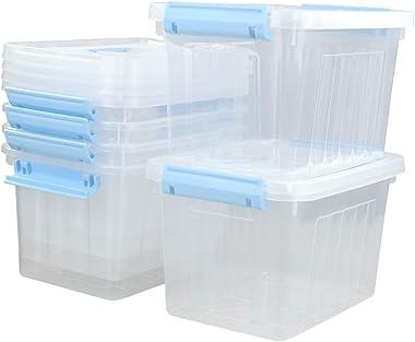 Ortodayes 6 Packs 6 Quart Storage Handle Boxes, Plastic Lidded Storage Bin