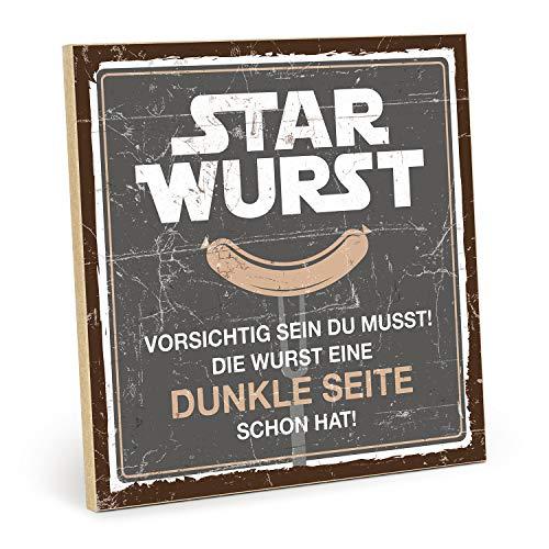 TypeStoff Holzschild mit Spruch – Star Wurst – im Vintage-Look mit Zitat als Geschenk und Dekoration (Größe: 19,5 x 19,5 cm)