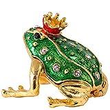 H & D Treasured Tierfiguren Trinkets Schmuckdose aus Metall Ring Halter Geschenke Decor Box frog