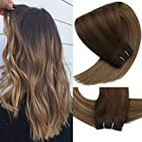 VeSunny Hair Extensions Sew in Human Hair Dark Brown Ombre Golden Brown Highlights Golden Blonde 20inch Balayage Bundles 100% Remy Human Hair Full Head Sew in Hair Weft 100G/Bundle