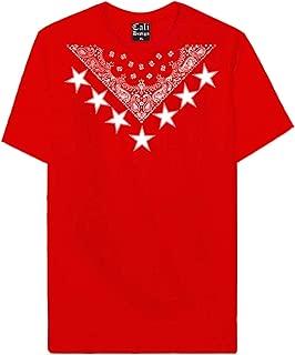 CaliDesign Red Bandana Star T Shirt Hip Hop Diamond Shape Street Wear NY Rap