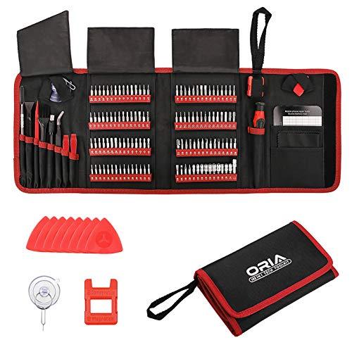 ORIA Präzisions Schraubendreher-Set, 142-in-1-Magnet-Treiber-Kit Professionelles Reparatur-Tool-Kit mit Tragbarer Tasche für iP, pad, PC, Computer, MacBook, Tablet, Spielekonsole, Uhr – Rot