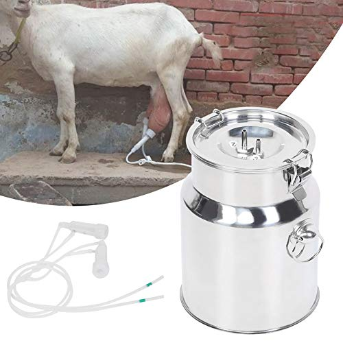Ordeñadora Eléctrica, Mini Ordeñadora de Pulsación Eléctrica Portátil de 5L Ordeñadora de Cucharón de Acero Inoxidable Máquina de Cría y Cría de Ganado con Bomba de Vacío Ajustable(para ovejas UE)