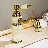 CZOOR Luxury <span class='highlight'>Gold</span> Brass Natural Jade <span class='highlight'>Bathroom</span> <span class='highlight'>Sink</span> Faucet <span class='highlight'>Gold</span>en Art <span class='highlight'>Basin</span> Mixer <span class='highlight'>Taps</span> Single Handle Lavatory Faucet <span class='highlight'>Gold</span> Finish