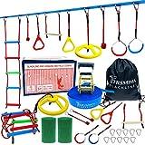 Trsmima Ninja Warrior Obstacle Course for Kids - 50' Ninja Slackline Kit for Outdoor/Indoor - Backyard Ninja Training Equipment with 9 Accessories Includes Rope Ladder/Ninja Wheel/Gym Rings/Monkey Bar