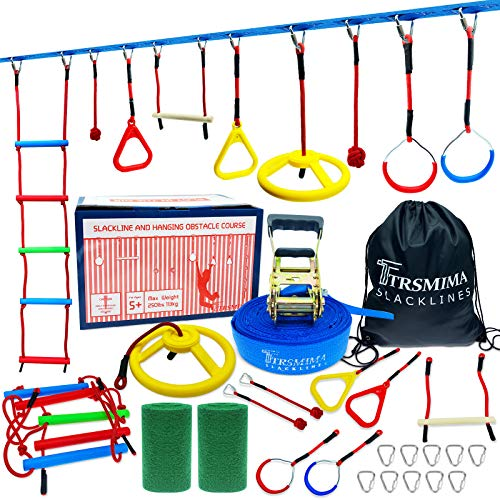 Trsmima Ninja Warrior Obstacle Course for Kids - 50' Ninja Slackline Kit - Ninja Line Training Equipment for Adult with 9 Accessories Includes with Rope Ladder, Swing Wheel, Gym Rings, Monkey Bar