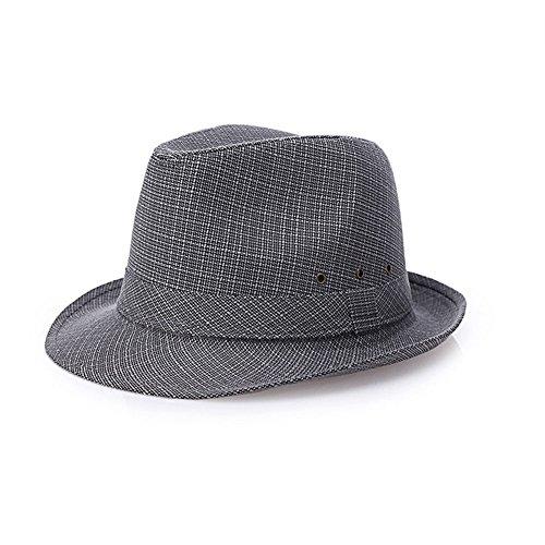 NYDZDM Sombreros de sol para hombre, de mediana edad, de verano, de viaje, de vacaciones, de sol, de etiquetas transpirables (color gris, tamaño: 58 cm)
