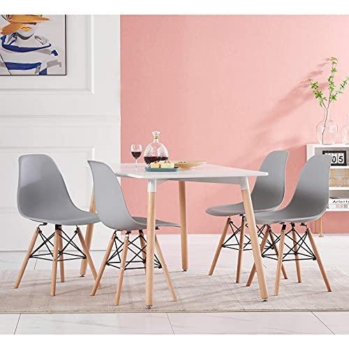 JLKDF Mesa de Comedor con sillas, Juego de 4 sillas de plástico Blanco, Mesa de Comedor Rectangular, Cocina, Moderna, Rectangular, Cocina, salón, Estilo Madera, Juegos de Comedor (Gris,