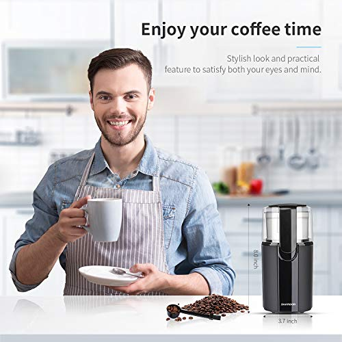 SHARDOR Coffee Grinder Electric with Removable Bowl, Grinder for Grain, Coffee Bean, Nuts, 70g Black