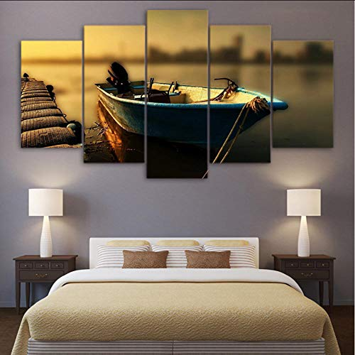 HD Printed Posters Canvas Wall Art Modular Vintage Pier Pictures Home Decor 5 Pieces Floating Fishing Boat Painting 40x60x2 40x80x2 40x100cm