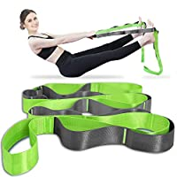 Onory Yoga Strap Stretch Straps for Physical Therapy with Exercise Booklet & Carry Bag Non-Elastic Multi Loops (Green+Grey) from Onory