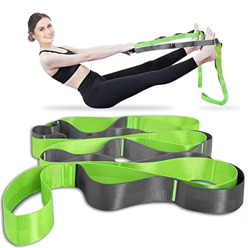 Onory Yoga Strap Stretch Straps for Physical Therapy Pilates Stretching Exercise Bands Non-Elastic Multi Loops (Green+Grey)