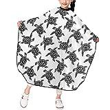 Animales Tortugas Marinas Corte de pelo para niños Capa de peluquero Delantal de corte de pelo para niños niñas con broche ajustable 39 X 47 in