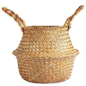 "Silk Flower Arrangements Fopamtri 6.5"" Seagrass Plant Basket Woven Belly Basket for Artificial Tree Boho Bakset for Fake Plant Decorative Basket for Faux Fiddle Leaf Fig Tree Areca Palm Bird of Paradise Snake Plant"