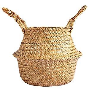 "Silk Flower Arrangements Fopamtri 8.5"" Seagrass Plant Basket Woven Belly Basket for Artificial Tree Boho Bakset for Fake Plant Decorative Basket for Faux Fiddle Leaf Fig Tree Areca Palm Bird of Paradise Snake Plant"