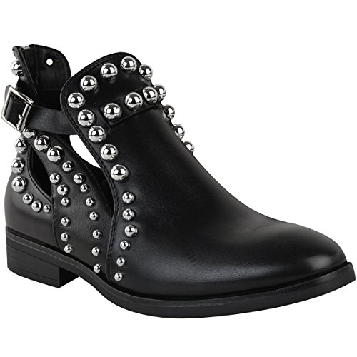 Fashion Thirsty Mujer Negros Planos Botines Chelsea con tachuelas Adornado Corte Zapatos Núm. GB